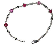 925 Sterling Silver Lab Created Pink Red Ruby and Diamond Accent Bracelet - 7.5""