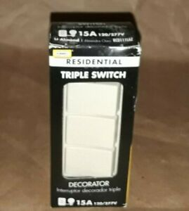 Hubbell 15A 120/277V Residential Triple Switch (F)