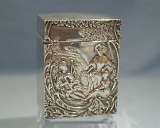 English Victorian Sterling Silver Parcel Gilt Hinged Card Case/Box Circa 1898