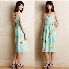 Anthropologie Corey Lynn Calter Floral Sketchbook Midi Dress w/ Pockets XS 0 2