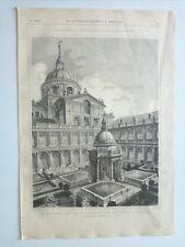 1885 Xilografía: El Escorial Patio de los Evangelistas Monasterio de San Lorenzo