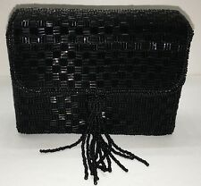 Vintage MAGID Evening Bag Clutch Shoulder Purse Bag Black Bead NEW Magnetic