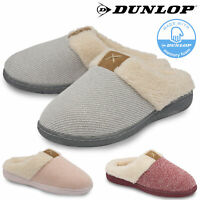 Dunlop Ladies Womens Slippers Slip On Comfy Cozy Mules Memory Foam Sizes 3-8