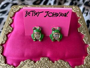 Betsey Johnson Vintage Viva La Betsey Green Frog Crystal AB Stud Earrings RARE