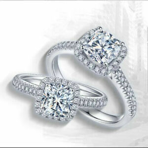 925 Sterling Silver Filled Zircon Women Diamond Cut Engagement Wedding Rings