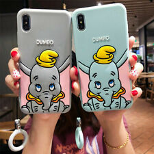 For iPhone 11 Pro Max XS 7 8+ Cute Cartoon Dumbo Silicone Case Cover Ring holder