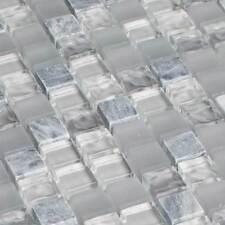 Mosaicos DE VIDRIO AZULEJOS Piedra Cristal Natural bardiglio Gris Mármol MATE