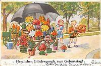 BG4573 children boy and girl   geburtstag  birthday  flower   germany greetings