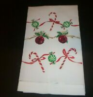 Vintage Hand Painted Fine Linen Christmas Holiday Candy Swag Guest Towel
