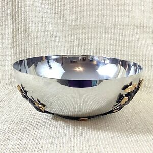 "L'objet Mullbrae Bowl Large 12"" Bronze Leaf Twigs Flowers Contemporary Design"