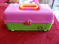 POLLY POCKET CABOODLES PLAYSET 1993 TOYBIZ PINK & GREEN CARRY CASE W ACCESSORIES