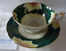 SHAFFORD JAPAN Cup & Saucer HAND DECORATED deep green Gold Leaves