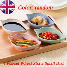 Set of 4 Small mini Wheat Straw Dipping Dishes Dip Bowls Sauce Dish Condiment UK