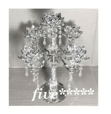 5 Tier Lotus CANDLE HOLDER Crushed Diamond Silver Crystals Filled Romany Bling