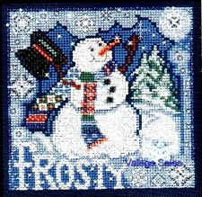 "Mill Hill Buttons Beads Cross Stitch Kit 5"" x 5"" ~ FROSTY SNOWMAN Sale #14-0304"