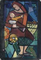 Kubsit um 1950 Interieur Mutter mit Kind 30,5 x 21,5 cm Gouache