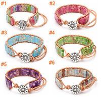 Bohemian Boho Handmade Leather Bracelet Wristband Bangle Jasper Jewelry Gift