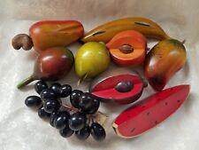 Set of 9 Vintage Carved Wood Fruit Pieces Retro Decor Folk Art Fruit Basket