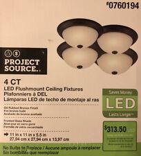 "Project Source 4 PACK 11"" Inch Bronze LED Flush Mount Ceiling Lights"