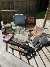 More details for vintage vanity lot hand fans soap manicure sets perfume atomisers mirror brushes