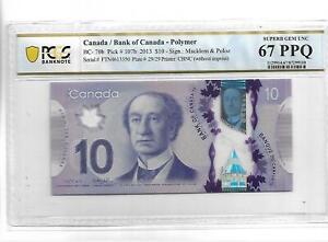 CANADA 2013 10 DOLLARS P#107b PCGS 67 SUPERB GEM UNC PPQ NOT PMG