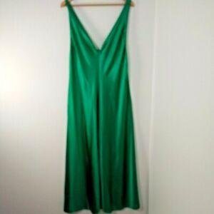 NEW VTG Emerald Green Glisanda Satin Long Nightgown Sleeveless Front Slit Large