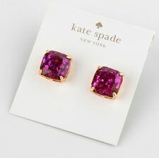 Fuchsia Glitter Stone Stud Earrings New Kate Spade 12K Gold Plated Purple