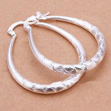 Fashion Women Jewelry 925 sterling Silver Round Hoop Dangle Stud Earrings Gift A