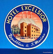 Hotel  EXCELSIOR  S . MARINO   Original  luggage label  BD88
