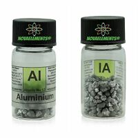 > 5 Grams 99,9% Aluminium Metal Element 13 Pellets in Vial + Record
