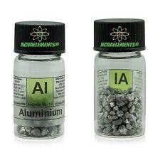 > 5 grammi 99,9% Alluminio metallo elemento 13 pellets in vial + etichetta