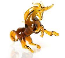 "Unicorn Glass Sculpture, Blown ""Murano"" Art, Home Decor Brown Animal Figurine"