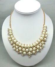 Faux Pearl Necklace Pearls Rhinestone Statement Bib Gold Tone Chain Fashion New