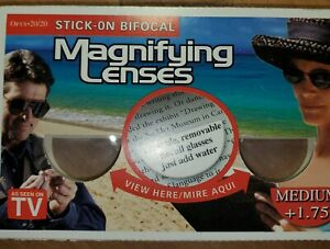 New Stick On Bifocal Magnifying Lenses As Seen On TV Medium +1.75