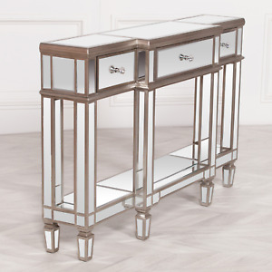 Exclusive Champagne MIRRORED CONSOLE Table With DRAWERS Silver   FREE Delivery