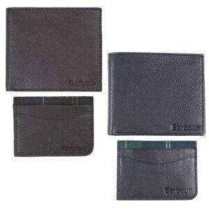 Barbour Men's Leather Wallet / Cardholder Gift Set Black Seaweed Or Dark Brown