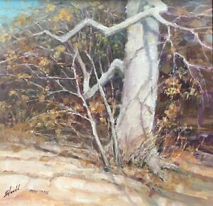 Joann Sleadd Tree Autumn Fall Yellow Leaves Framed Original Oil Painting 12x12