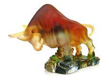 Extraordinary World Class French Art Glass Raging Bull Sculpture Unusual Colours