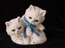 Vintage Porcelain Cat Statue with blue ribbon around neck Figurine - Too CUTE!