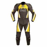 Mens Motorcycle Yellow Black Cowhide Leather 2Piece Suit Speed Hump Safety Pads