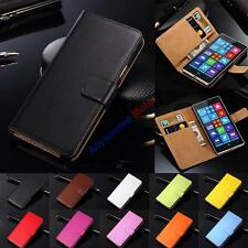 Genuine Leather Wallet Flip Case Cover For Microsoft / Nokia Lumia Model