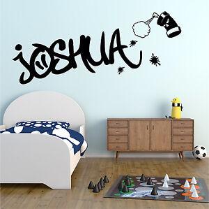 GRAFFITI Wall Sticker Personalised Name Girls Boys Bedroom Vinyl Art Decal AD290