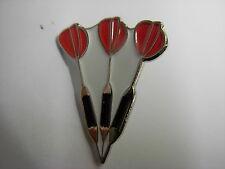 Dart pin badge. Set of Darts. Red flights.