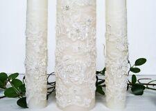 Ivory wedding candle ceremony Lace unity candle set wedding unity idea