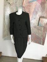 VINTAGE Sylvia Heigel Wool Herringbone Skirt Suit Dress Green A17 Modern Small