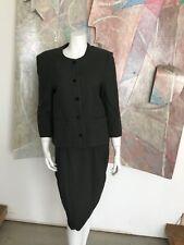 VINTAGE Sylvia Heigel Wool Herringbone Skirt Suit Dress Green R Modern SZ Small