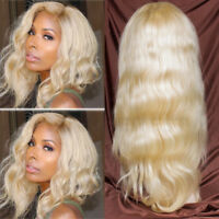 Long Wavy Lace Front Wig Bleached 613 Blonde Full Wigs Indian Remy Human Hair pg