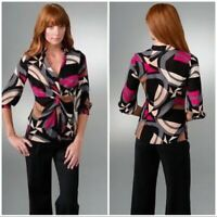 "Diane von Furstenberg Black Multicolor Silk Printed ""Nadina"" Tie LS Blouse SZ 2"