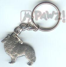 Sheltie Shetland Sheepdog Dog Pewter Keychain Key Chain Ring New