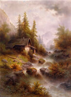 Oil painting art nice sunset landscape with house stream crossing the mountains